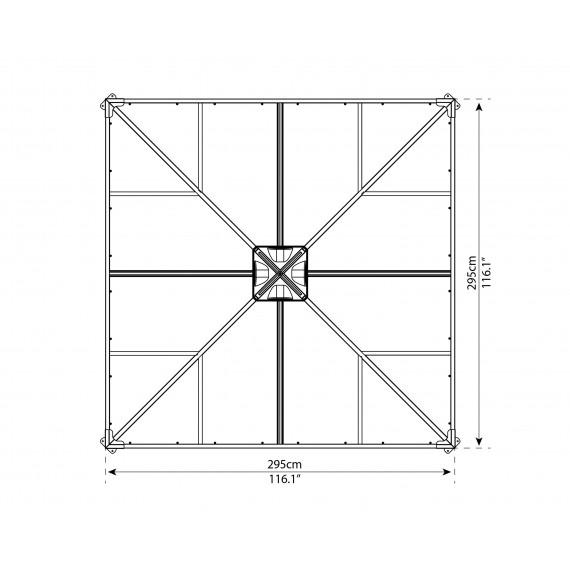 Helårs paviljong 3m X 3m med vegger