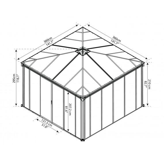 Helårs Paviljong 3,6m X 3,6m med vegger