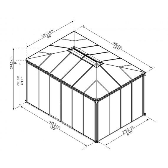 Per 4,3m x 3m med vegger Helårs Paviljong